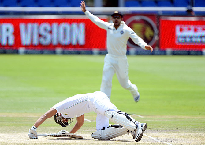 Alviro Petersen of South Africa gets floored by a Mohammad Shami yorker on Sunday