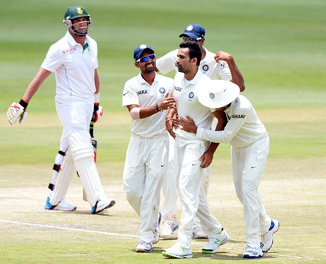 Zaheer Khan of India celebrates his 300th Test wicket after dismissing Jacques Kallis on Sunday