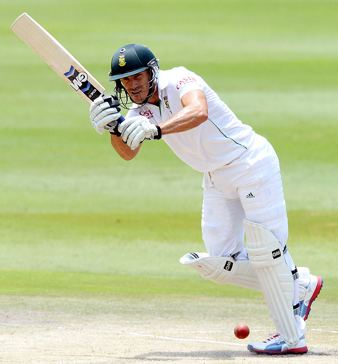 Faf du Plessis of South Africa plays a square drive on Sunday