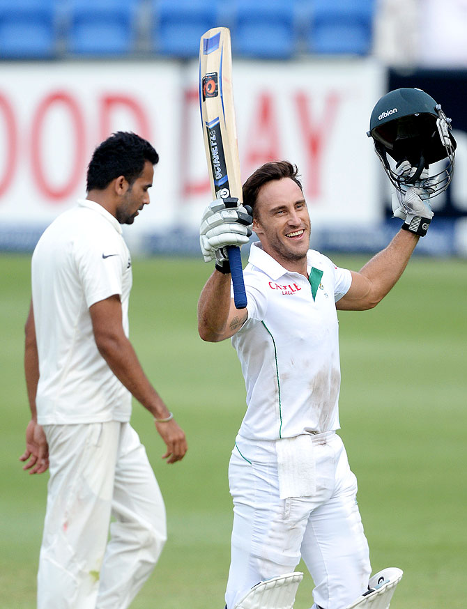 Faf du Plessis of South Africa celebrates his century