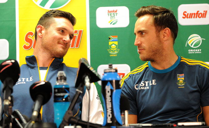 Graeme Smith and Faf du Plessis of South Africa