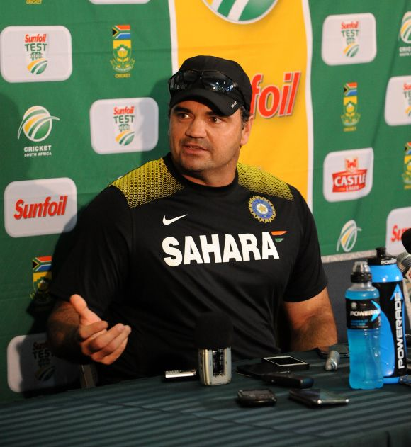 Bowling coach Joe Dawes of India speaks to the media during a press conference