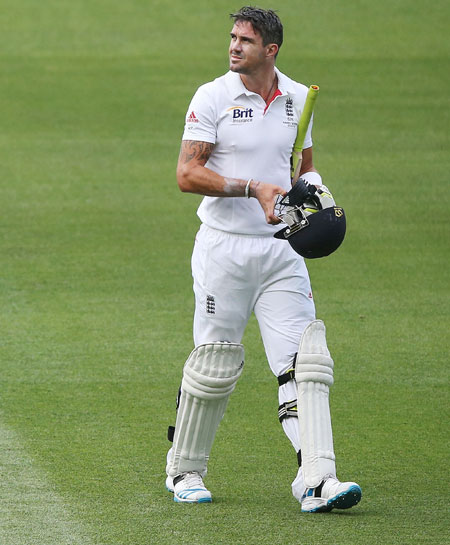 Kevin Pietersen of England walks off after his dismissal