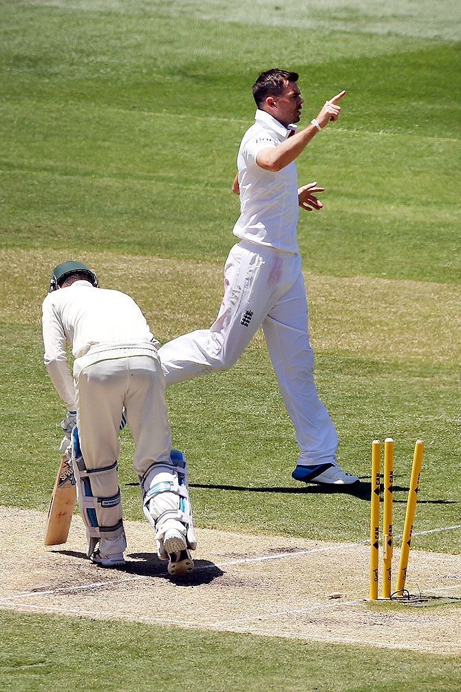 James Anderson of England celebrates bowling Michael Clarke of Australia on Day 2 of the Fourth Ashes Test at Melbourne Cricket Ground on Friday