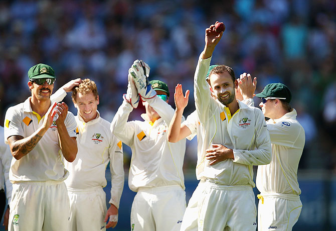 Nathan Lyon celebrates his five-wicket haul on Fridayq