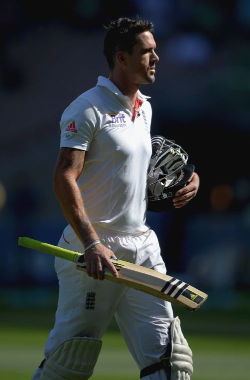 Kevin Pietersen walks back to the pavillion after being dismissed