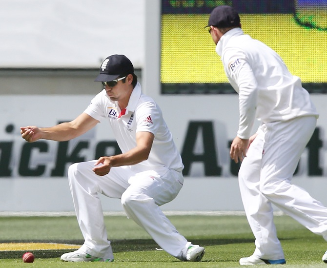Alastair Cook of England drops a catch