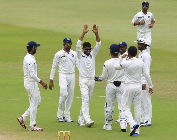 Jadeja celebrates after getting a wicket