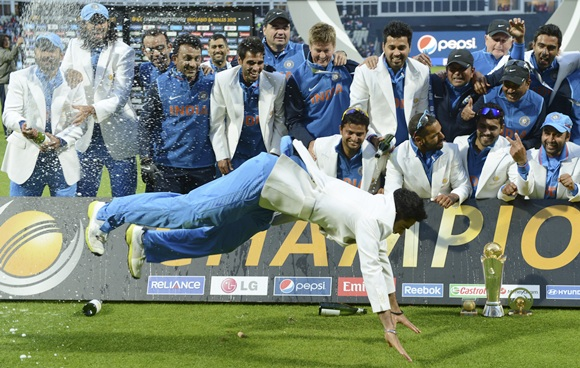 India's Virat Kohli dances after his team won the ICC Champions Trophy final