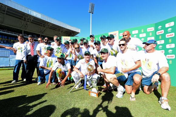 South African team pose for photographers after winning the Test series
