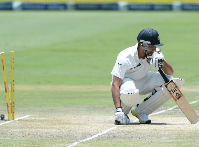 Rohit Sharma of India is bowled by Jaques Kallis (not pictured)