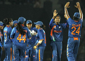 Indian women cricketers celebrate