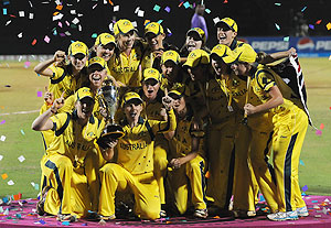 The Australian women's cricket team celebrate after winning the World Cup at the Brabourne stadium, Mumbai, on Sunday