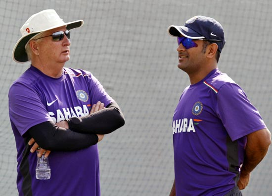 India captain Mahendra Singh Dhoni with coach Duncan Fletcher