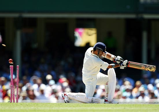 Sachin Tendulkar is bowled by James Pattinson of Australia during day one of the second Test in Sydney in January last year