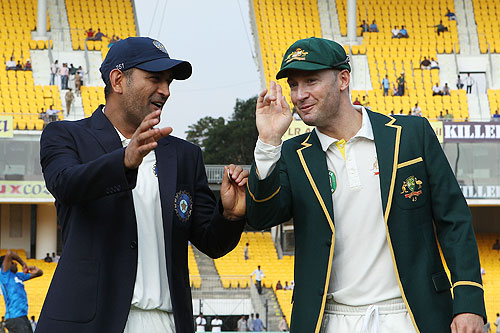 MS Dhoni of India and Michael Clarke Captain of Australia at the toss on Day 1 of the 1st Test at the MA Chidambaram Stadium in Chennai on Friday