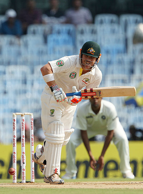 Australia's David Warner in action on Day 1 of the 1st Test against India in Chennai on Friday