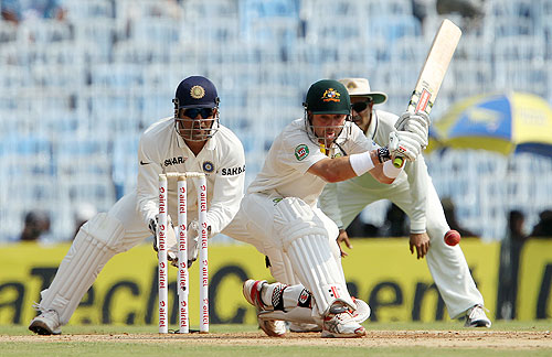Ed Cowan of Australia plays a sweep on Day 1 of the 1st Test against India at the MA Chidambaram Stadium in Chennai on Friday