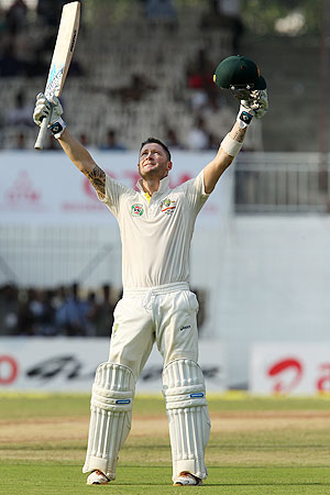 Australia captain Michael Clarke celebrates his century on Day 1 of the 1st Test against India at the MA Chidambaram Stadium in Chennai on Friday