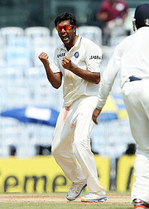 Ravichandran Ashwin of India celebrates the wicket of Matthew Wade of Australia on Friday