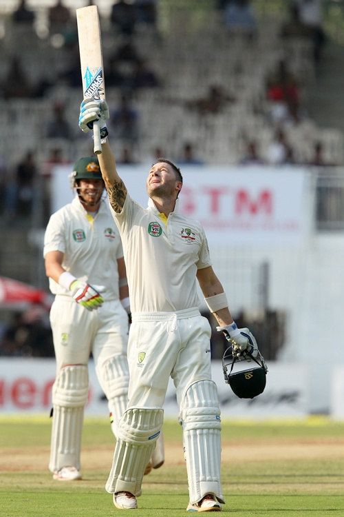 Michael Clarke, captain of Australia celebrates his century
