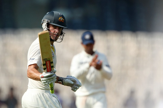 Moises Henriques of Australia celebrates his fifty