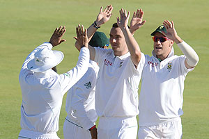 Kyle Abbott of South Africa celebrates the wicket of Saeed Ajmal of Pakistan on Day 2 of the 3rd Test between South Africa and Pakistan at SuperSport Park in Pretoria on Saturday