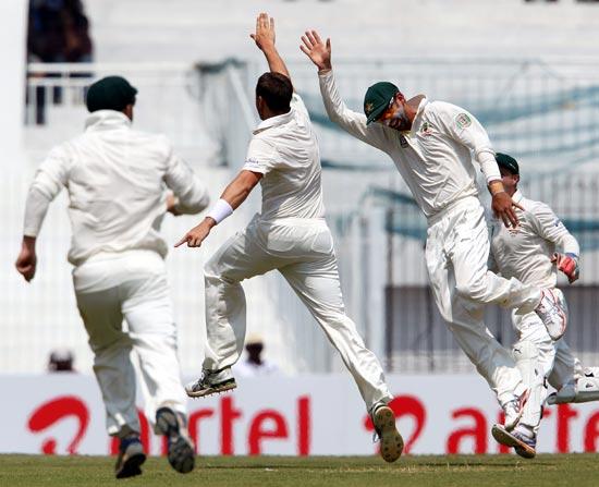 The Australian team celebrate the wicket of Virender Sehwag