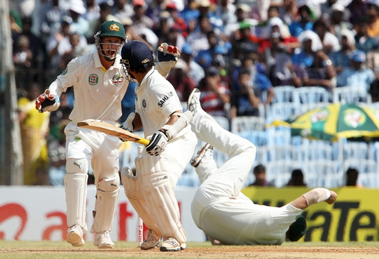 Sachin Tendulkar is clean bowled by Nathan Lyon