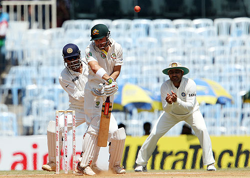 Ed Cowan of Australia deals with an awkward delivery from Harbhajan Singh  on Day 4 of the 1st Test on Monday