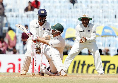 Matthew Wade is bowled by Harbhajan Singh
