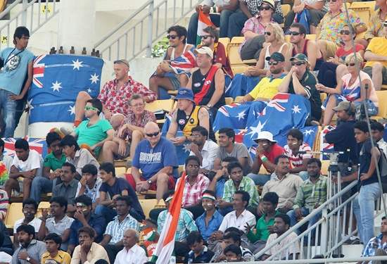 Subdued Australian fans watch at the MA Chidambaram stadium on Tuesday.