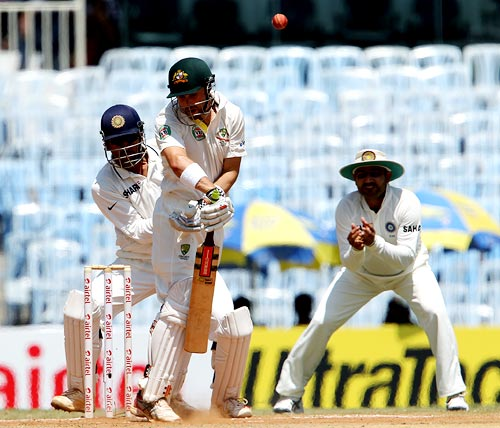 Australia batsman Ed Cown is beaten during the first Test match in Chennai
