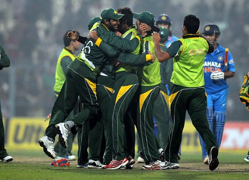 Pakistan team celebrate after winning the match