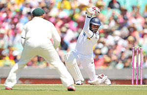 Lahiru Thirimanne of Sri Lanka in action on Day 1 of the third Test between Australia and Sri Lanka at the SCG on Thursday