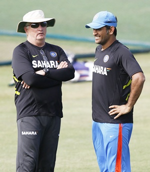 MS Dhoni with coach