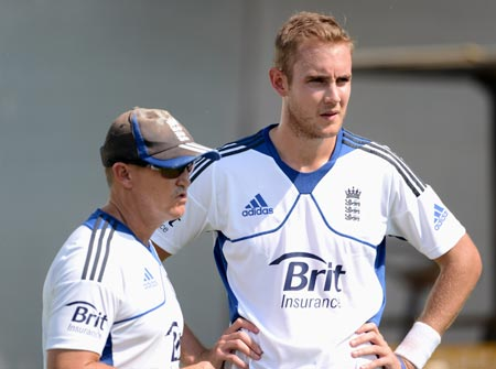 England pacer Stuart Broad with coach Andy Flower