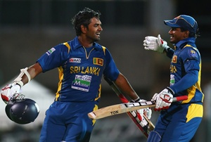 Lahiru Thirimanne of Sri Lanka celebrates with Kushal Janith Perera