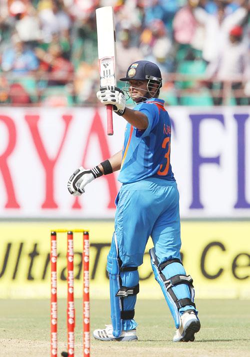 Suresh Raina celebrates his fifty