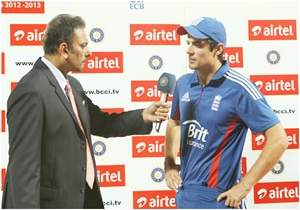 England captain Alastair Cook and Ravi Shastri at the presentation ceremony