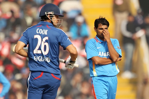 Shami Ahmed reacts after bowling to Alastair Cook