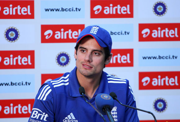 Alastair Cook of England addresses the media in the post match press conference