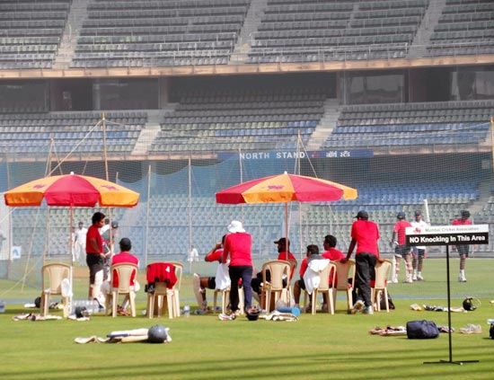 The Mumbai team in the nets at the Wankhede stadium