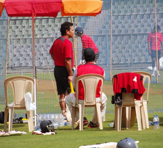 Sachin Tendulkar in the nets