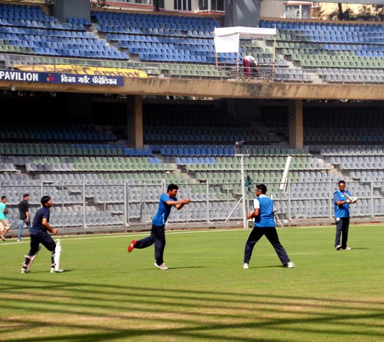 Saurashtra's players practice during the nets session at the Wankhede stadium