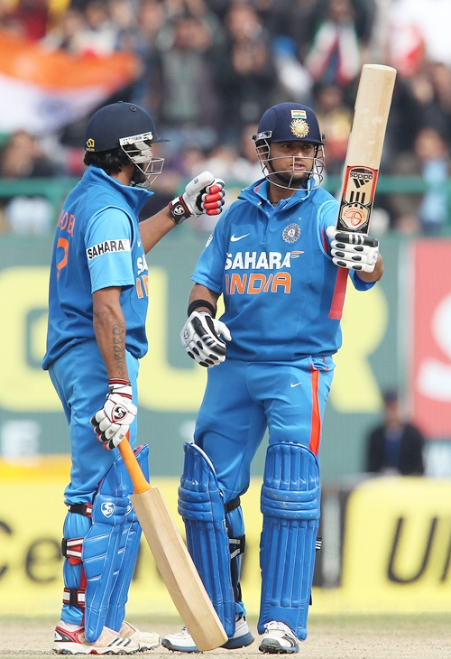 Suresh Raina celebrates his fifty