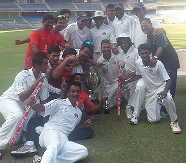 The Mumbai Ranji team celebrates