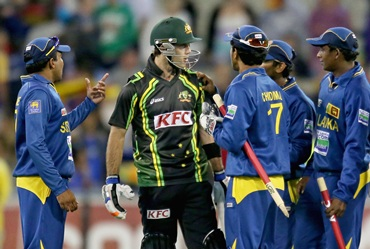 Glenn Maxwell of Australia and Sri Lankan players exchange words after the final ball of the second Twenty20 International series between Australia and Sri Lanka at the Melbourne Cricket Ground on January 28.