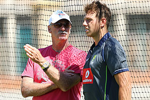 Dennis Lillee talks with James Pattinson during an Australian training session at WACA on Wednesday