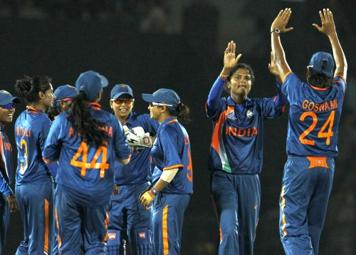 Indian team celebrates after winning the game